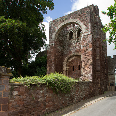 EXETER, DEVON, UK, 11.07.2016: gatehouse was built by William the Conqueror. Part of the Norman Castle of Rougemont