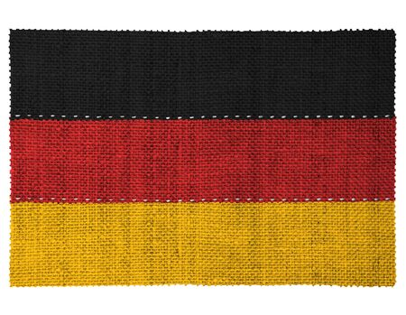 The national flag of the country of Germany. Sewn from three pieces of white thread. Fabric with large texture.