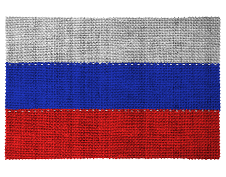 sewn: The national flag of the country of Russia. Sewn from three pieces of white thread. Fabric with large texture. Stock Photo