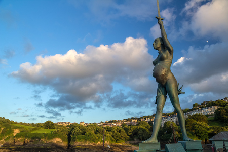 Ilfracombe, North Devon, England, 13 July, 2016: Verity - statue in Ilfracombe of the author Damien Hirst