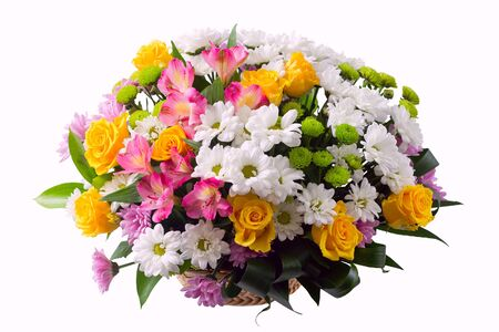 Flower arrangement in a basket - lstroemeria, rose, chrysanthemum, aspidistra
