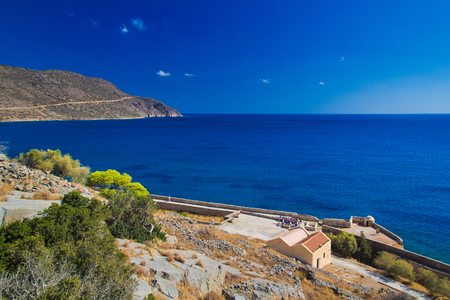 Mirabello Bay. View from the island fortress of Spinalonga. Crete