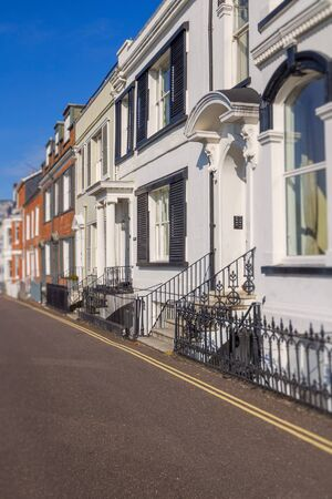devonian: Several houses on Beacon Street. Exmouth. Devon. England