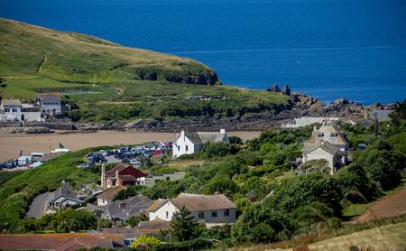 Bigbury-on-Sea and Burgh Island on a clear day. Devon. England