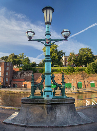 cotswold: Beautiful street lamppost on the embankment of the river Exe. Exeter. England