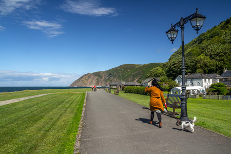 lynmouth: Lynmouth, Devon, England, 13 July 2016: People walk the dog along the coast. Editorial