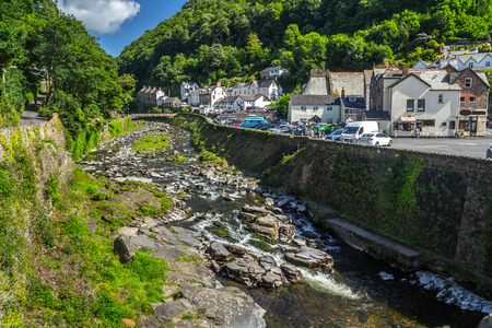 View of the village of Lynmouth. East Lyn River. Clear weather. The day and the sun. North Devon. UK