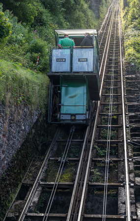 lynmouth: Lynmouth, Devon, England, 13 July 2016: water-powered funicular between the villages of Lynton and Lynmouth. Editorial