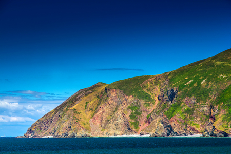 North Devon Coast near the villages of Lynton and Lynmouth. Rocks are adjacent into a dense to the sea. Sunny day and blue sky. UK Stock Photo