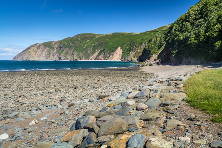 lynmouth: North Devon Coast near the villages of Lynton and Lynmouth. Sunny day and blue sky. UK