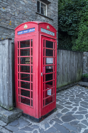 lynmouth: Traditional old English phone booth with the modern technologies. Lynmouth. Devon. UK