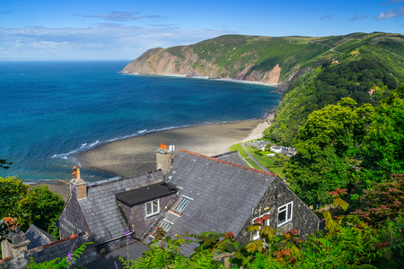 lynton: The house is on a steep bank in Linton. Lovely view of the sea from the hill height. North Devon. UK Stock Photo