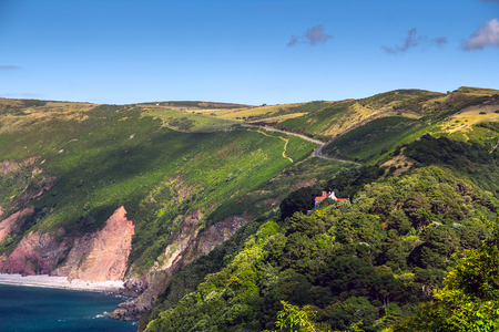 lynton: The road and the tourist path along the scenic North Devon. Near the Lynmouth. UK