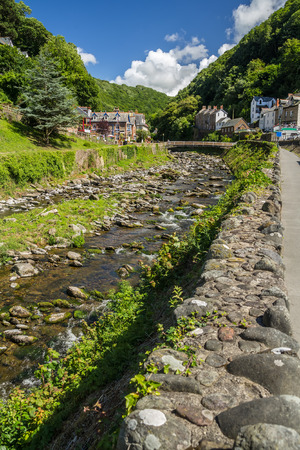 lynmouth: River East Lin in Lynmouth. Several small houses along the banks. Stock Photo