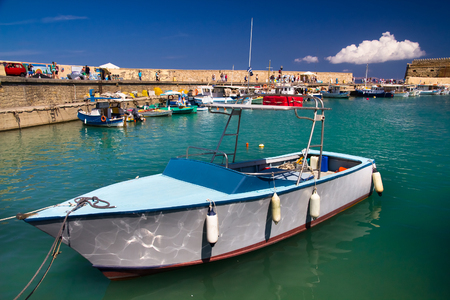 bastion: Fishing boat in the port of Heraklion. Crete