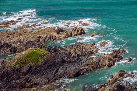Rocky seashore in North Devon. Woolacombe. England. Stock Photo