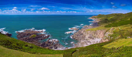 Panorama of the Grunta beach.  Near the village and beach of Woolacombe. England Stock Photo