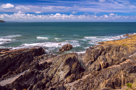 The sea and the rocky shore in northern Devon. Near the village of Woolacombe and Mortehoe. England