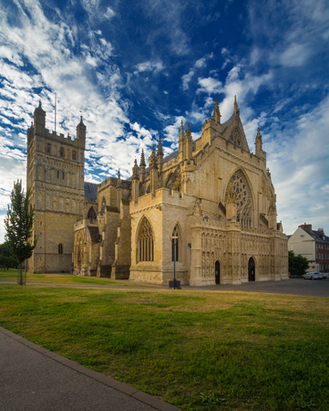 The cathedral in Exeter. Early morning. Cirrus clouds in the blue sky. Devon. England Stock Photo