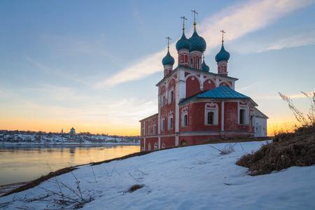 Kazan Church on the high bank of the Volga River. City of Tutaev (Romanov). Yaroslavl Region. Russia