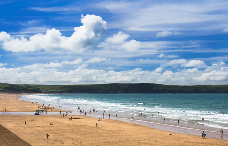 A lot of people on a popular English beach Woolacombe. Devon. UK