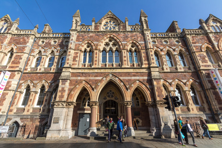 Exeter, Devon, England, 23 October 2016:  The building of the Royal Albert memorial museum and the people at the entrance Editorial