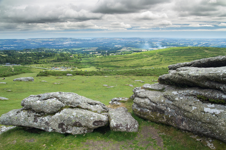 Devons landscape. View from Haytor. Dartmoor National Park. England Stock Photo