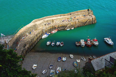 The old bay in the village of Clovelly. A popular tourist place in England. Devon Stock Photo