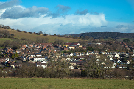 Residential houses on the outskirts of the city of Sidmouth. English winter. Sunny weather. East Devon. UK