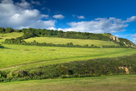 Devons landscape. Green hill and blue sky. Good peaceful weather. Devonshire. UK Stock Photo