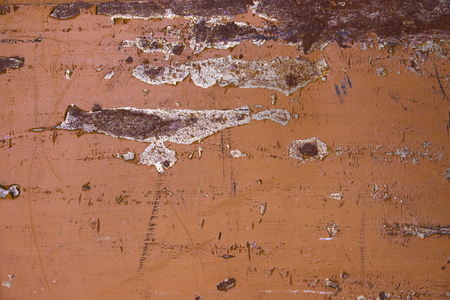 Metal surface Painted in brown. It looks scruffy and old. There are scratches and peeling paint. Natural background Stock Photo