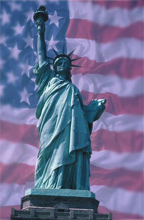 Statue of Liberty with American National Flag