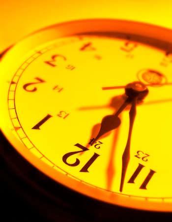 Yellow clock approaching 12.