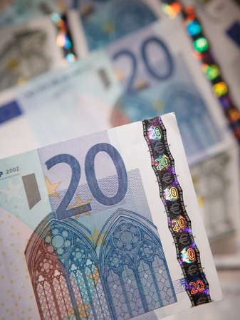 TWENTY EURO NOTES IN CLOSE UP