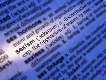 Close up of dictionary page showing definition of the word sexism