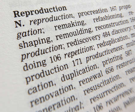 Close up of thesaurus page showing synonyms of the word reproduction