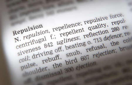 Thesaurus page showing synonyms of the word repulsion