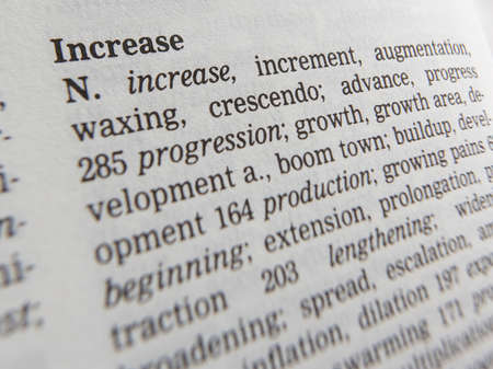 Thesaurus page showing synonyms of the word increase