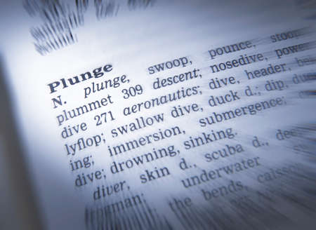 Close up of dictionary page showing definition of the word plunge