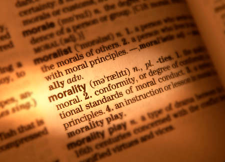 Close up of dictionary page showing definition of the word morality