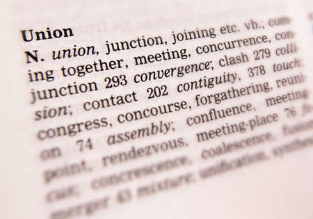 Close up of dictionary page showing definition of the word union