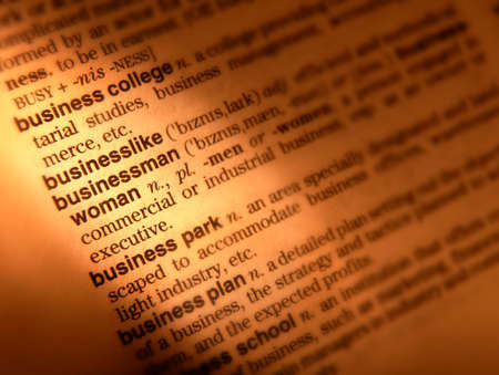 Close up of dictionary page showing definition of the word businesslike Фото со стока