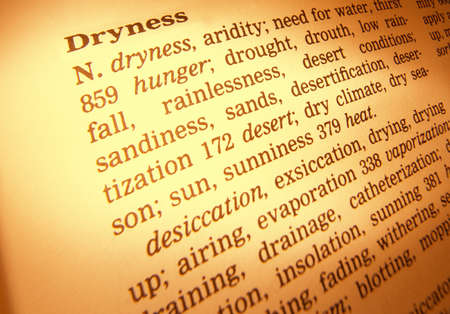 Close up of thesaurus page showing definition of the word dryness 写真素材