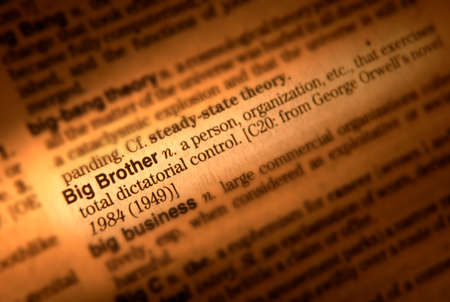 Close up of dictionary page showing definition of the term Big Brother