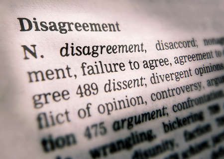Close up of thesaurus page showing definition of the word disagreement 写真素材