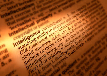 Close up of dictionary page showing definition of the word intelligence