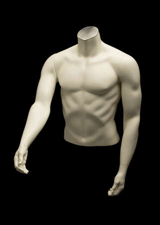 Mannequin of naked male torso isolated on black background 版權商用圖片