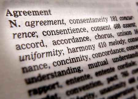 Close up of thesaurus page showing definition of the word agreement Stock fotó