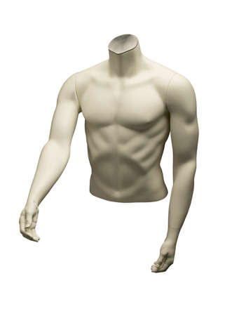 Mannequin of naked male torso isolated on white background