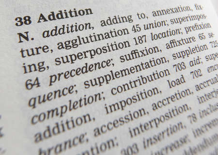 Close up of thesaurus page showing definition of the word addiction 写真素材